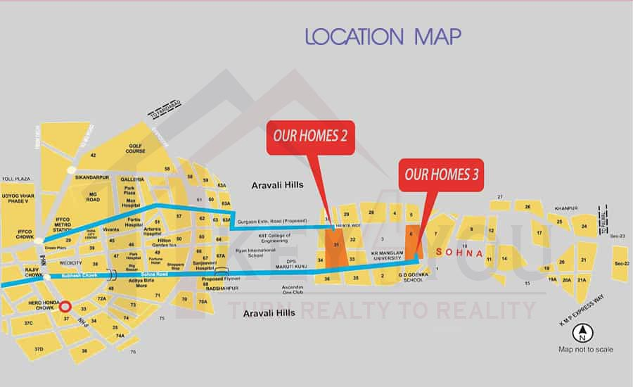 Arete Our Homes Sector 6 Sohna Location Map Key 4 You