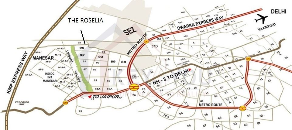 Location on Map of Signature Global The Roselia Sector 95A Gurgaon
