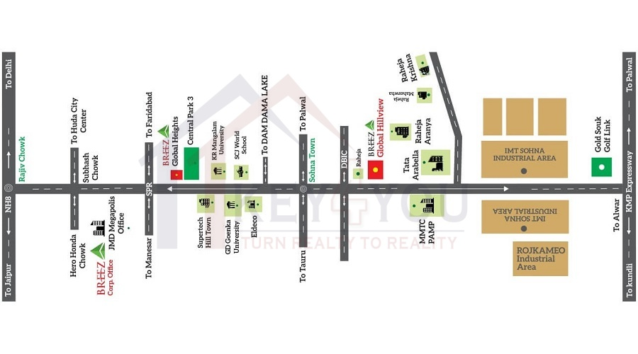 Breez Global Hill View Sector 11 Sohna location Breez affordable housing Gurgaon Sector 11