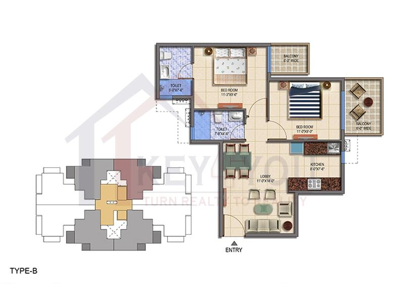 Type B Floor Plan of Signature Global The Roselia Sector 95A Gurgaon