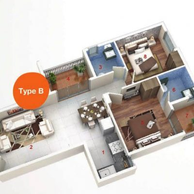 AASHIYARA 2bhk floor plan type b