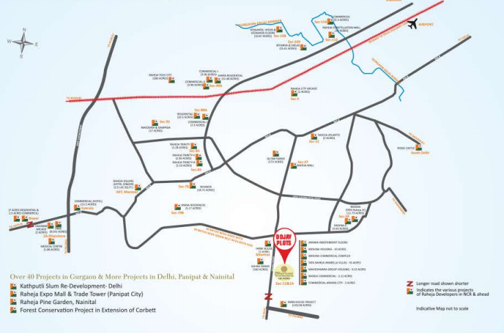 location map raheja affordable plots