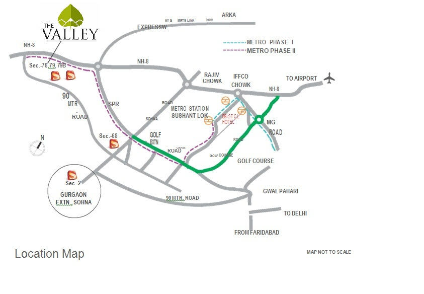 location map of Supertech The Valley Sector 78 Gurgaon