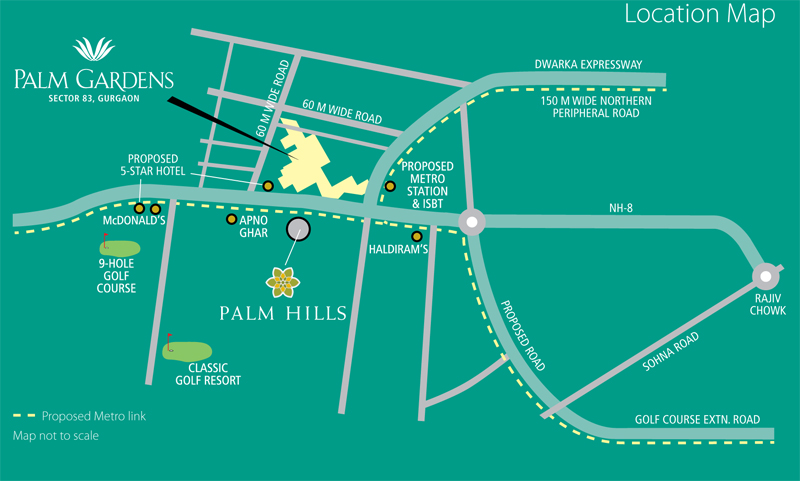 Emaar Mgf Palm Gardens location map