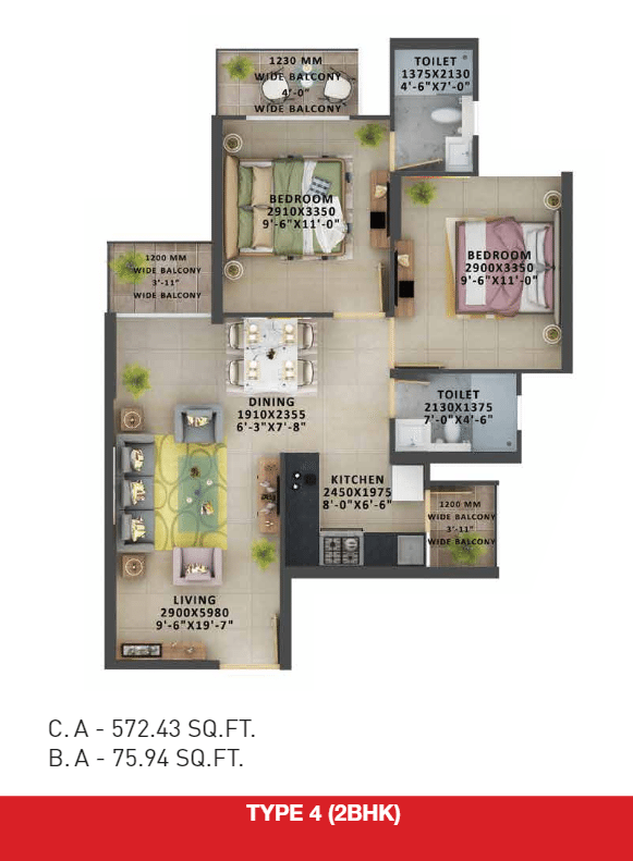2bhk type 4 floor plan