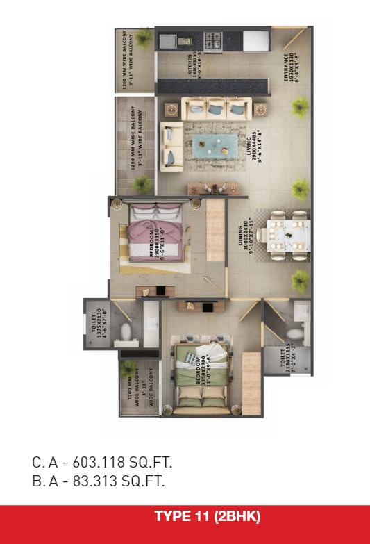 2bhk type 11 floor plan