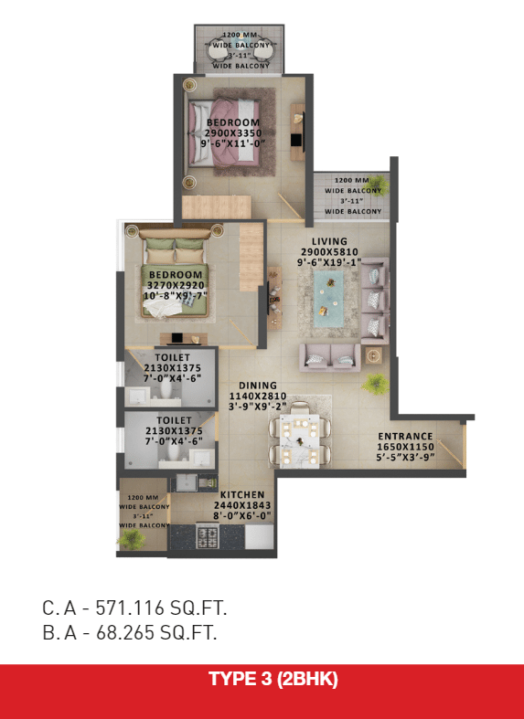 2bhk type 3 floor plan