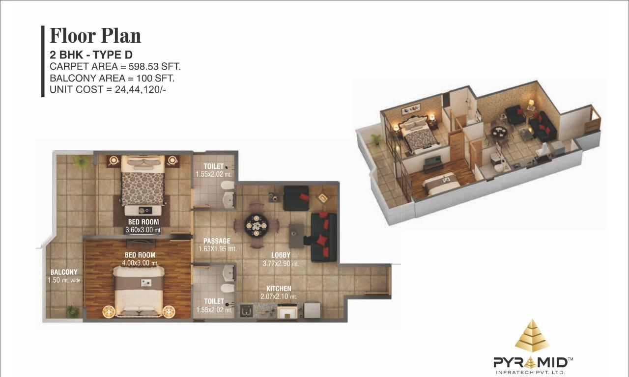 Pyramid Sector 59 Floor Plan Type D gurgaon