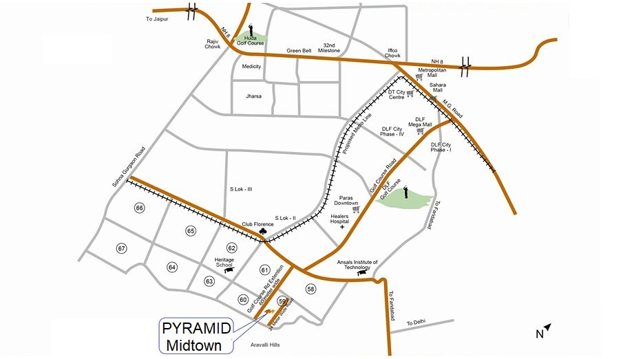 Pyramid Midtown Sector 59 Location Map Gurgaon